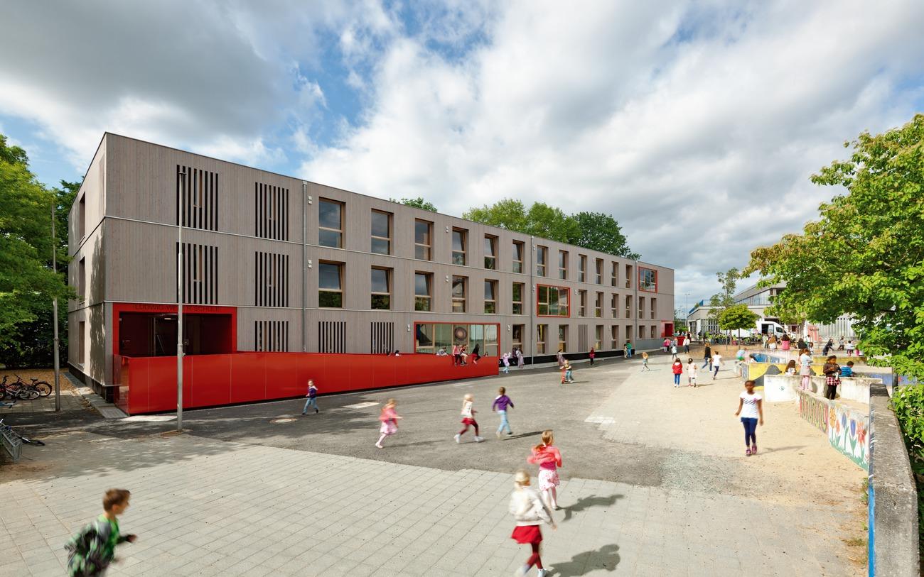 """Ersatzbau für die """"Ludwig-Weber-Schule"""" in Modulbauweise, Frankfurt am Main, Deutschland"""